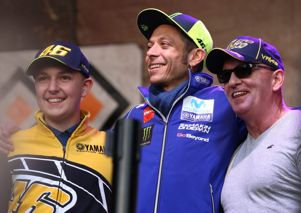Valentino Rossi on stage with auction winners, Day of Champions 2018