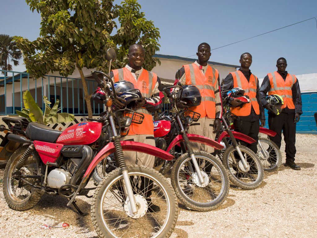 Fleet of motorcycles ridden by healthworkers, The Gambia