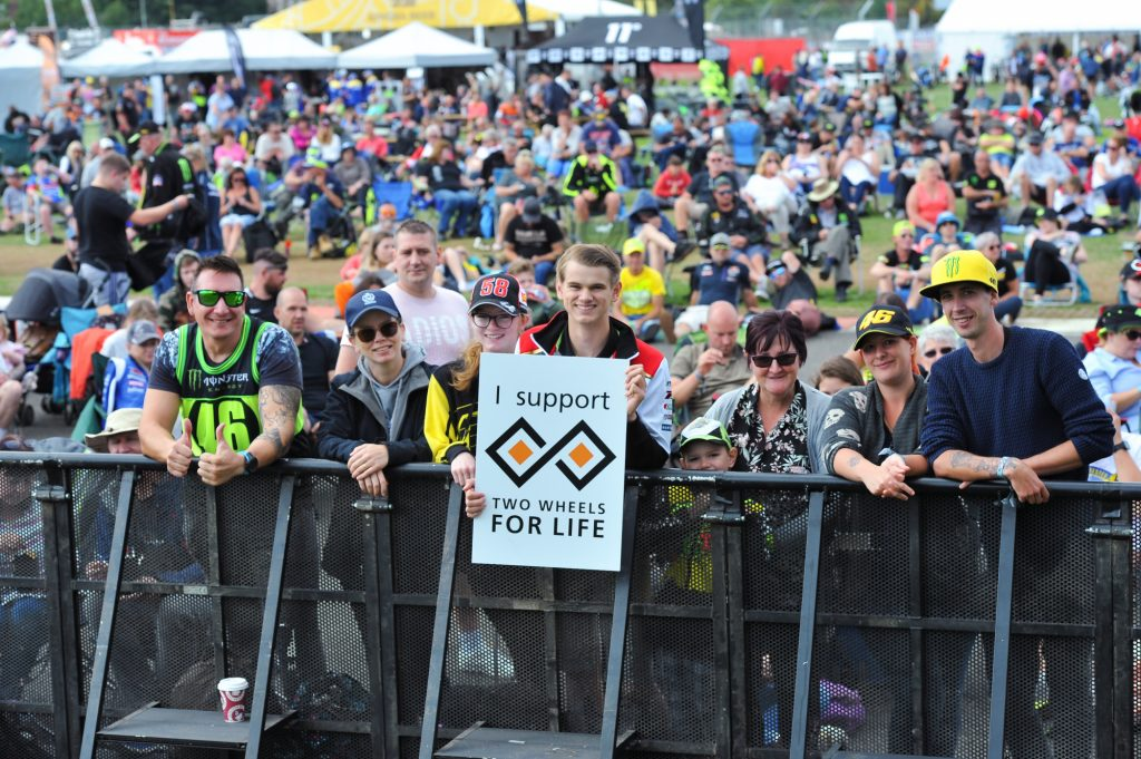 Crowd Fan Support Silverstone MotoGP Day of Champions Two Wheels for Life