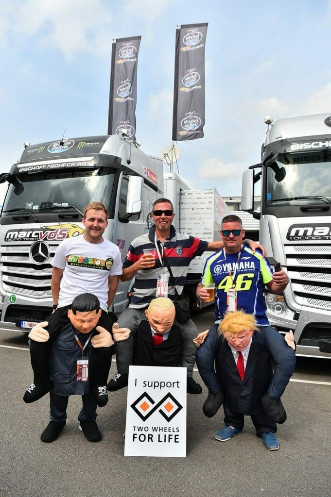 Kim Jong-un Vladimir Putin Donald Trump Pit Paddock Two Wheels for Life MotoGP Silverstone Day of Champions 2018