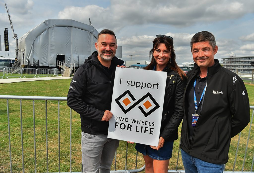 Suzi Perry Gavin Emmett Two Wheels for Life MotoGP Silverstone Support Sign