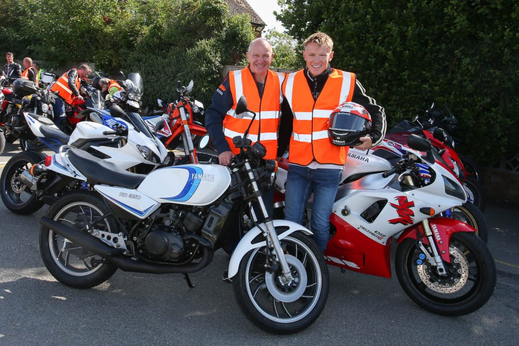 Niall Mackenzie and son Taylor lead the ride-in to Day of Champions