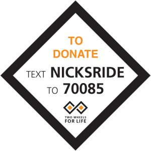 Nick's Ride - text to donate